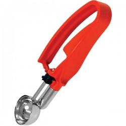 Ложка для морожен. с механизмом; пластик, нержавеющая сталь, D=37, L=196мм; , красный