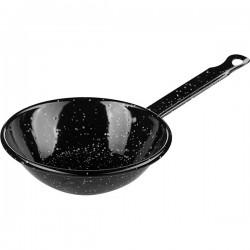 Сковорода порц. для паэльи с ручкой; эмалиров.; голубая сталь; D=140, H=45мм; черный