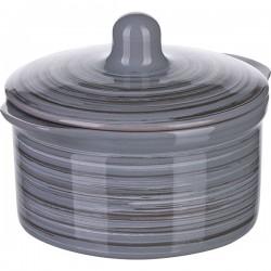Кастрюля для запекания с крышкой «Пинки»; керамика; 0, 5л; D=11см; серый
