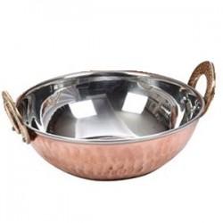 Блюдо для подачи(кадай) «Проотель»; сталь нерж., медь; 0, 5л; D=150, H=55мм; медный