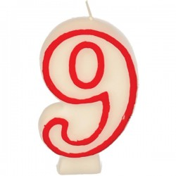 Свеча-цифра ко дню рождения «9»; воск; H=16, L=144/74, B=84мм; белый, красный