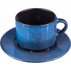 Пара чайная «Млечный путь голубой»; фарфор; 200мл; D=15, 5см; голуб., черный