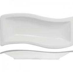 Блюдо волн. прямоугольное «Кунстверк»; фарфор; H=20, L=205, B=80мм; белый