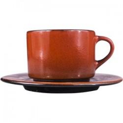 Пара чайная «Млечный путь оранжевый»; фарфор; 200мл; D=15, 5см; оранжев., черный
