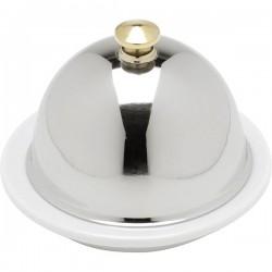 Икорница с крыш.; нерж., фарфор; 45мл; D=90, H=69мм; , белый