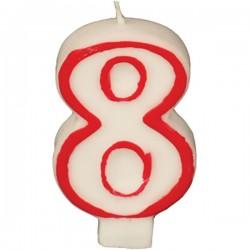 Свеча-цифра ко дню рождения «8»; воск; H=16, L=144/74, B=84мм; белый, красный