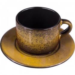 Пара чайная «Млечный путь изумрудный»; фарфор; 200мл; D=15, 5см; изумруд., черный