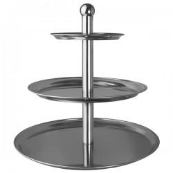 Этажерка 3-х ярусная д/десерта «Проотель» d=30, 40, 50см; сталь нерж.; H=51см; металлич.