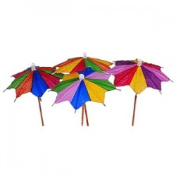 Зонтик на корот. ножке фигур. край[100шт]; бумага, дерево; H=120, L=90/100, B=57мм; разноцветн., бежев.