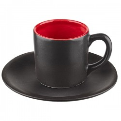Пара кофейная «Кармин»; керамика; 100мл; D=13, 5см; красный, черный