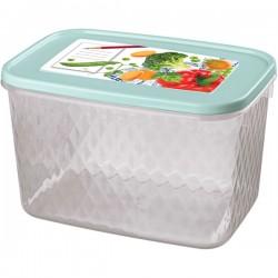 Контейнер для замораживания и хранения продуктов с декором «Кристалл»; полипроп.; 1, 7л; голуб.