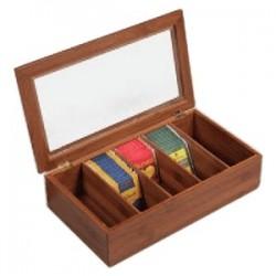 Контейнер для пакет. чая; дерево, стекло; H=9, L=36, B=20см; тем.дерево,