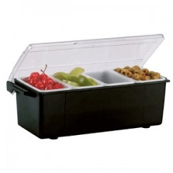 Контейнер для фруктов 4 отделения; пластик; H=90, L=495, B=156мм; черный