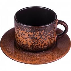 Пара чайная «Млечный путь терракот»; фарфор; 200мл; см; терракот, черный