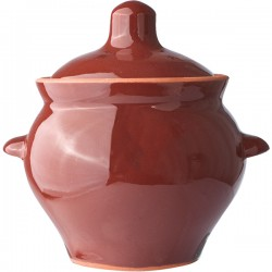 Горшок для запекания ; керамика; 450мл; D=95, H=115мм; тем.корич.