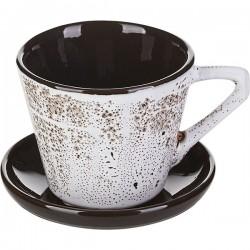 Пара чайная «Тирамису»; керамика; 200мл; D=9см; белый, коричнев.