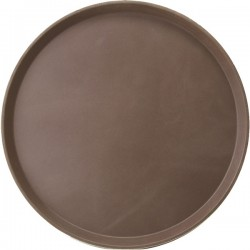 Поднос круглый; пластик, прорезин.; D=275, H=20мм; коричнев., серый