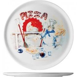 Блюдо д/пиццы с рисунком «Чинция»; фарфор; D=28, 5см; белый, роспись