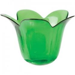 Подсвечник «Грин»; стекло; H=101, B=140мм; зелен.