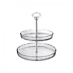 Этажерка 2-х ярусная д/десерта «Палладио» d=22/27см; стекло, пластик; H=26см; прозр.