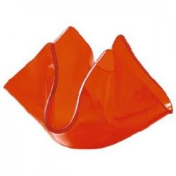 Подсвечник «Флауэ» оранж. -красный; стекло; D=50, H=85, L=105, B=105мм; оранжев.