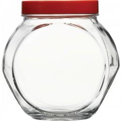 Банка с крышкой «Бэлла»; стекло, пластик; 1, 5л; прозр., красный
