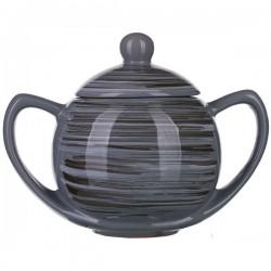 Сахарница с крышкой «Пинки»; керамика; 400мл; D=8см; серый