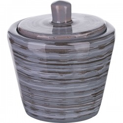 Сахарница с крышкой «Пинки»; керамика; 200мл; D=85мм; серый