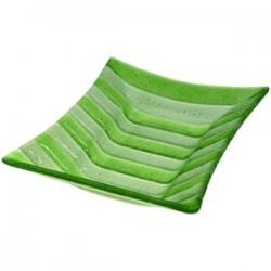 Блюдо «Лайн»; стекло; L=29, B=19см; зелен., прозр.