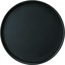 Поднос круглый; полипроп., прорезин.; D=356, H=25мм; черный