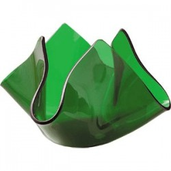 Подсвечник «Флауэ»; стекло; D=50, H=72, B=122мм; зелен.