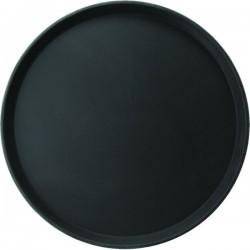 Поднос круглый; пластик, прорезин.; D=406, H=25мм; черный
