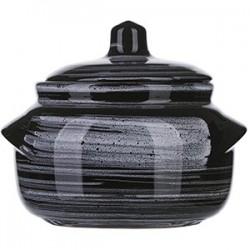 Горшок для запекания «Маренго»; керамика; 0, 5л; D=14см; черный, серый