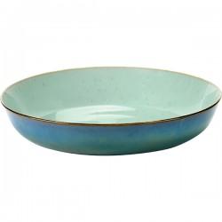 Блюдо глубокое; керамика; D=21, H=4см; голуб., серый