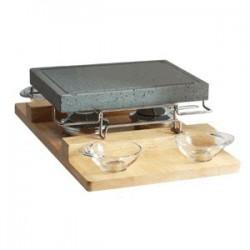 Камень для подачи горячих блюд+подставка; нат.камень; H=11, 5, L=51, 5/48, 5, B=31см; серый,