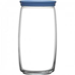 Банка с крышкой «Чешни»; стекло, пластик; 1, 5л; D=94, H=200мм; прозр., синий