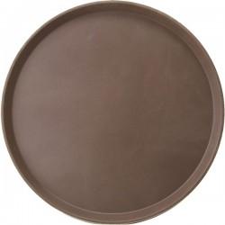Поднос круглый; стеклопласт., прорезин.; D=356, H=25мм; коричнев., серый