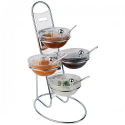 Этажерка + 4 салатника с крыш. d=14см; сталь хромир., стекло; H=48, L=30, B=30см; металлич., прозр.