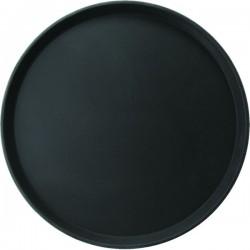 Поднос круглый; пластик, прорезин.; D=356, H=25мм; черный