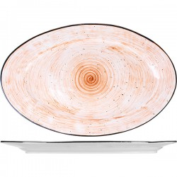 Блюдо овальное «Пастораль»; фарфор; H=25, L=405, B=255мм; оранжев.