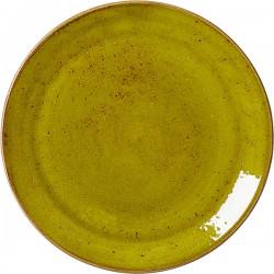 Тарелка мелкая «Крафт Эппл»; фарфор; D=28, H=2см; желто-зел.