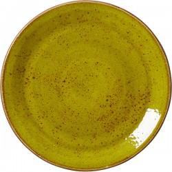 Тарелка мелкая «Крафт Эппл»; фарфор; D=25, H=2см; желто-зел.