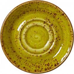 Блюдце «Крафт Эппл»; фарфор; D=145, H=17мм; желто-зел.