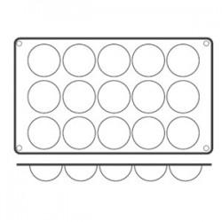 Форма кондитерская «Полусфера» 15ячеек; силикон; D=50, H=25, L=295, B=175мм;