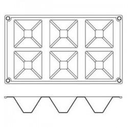 Форма кондитерская «Пирамида» 7.1*7. 1см; силикон; H=35, L=295, B=175мм;