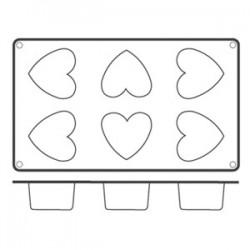Форма кондитерская «Сердце» 6ячеек 5. 5*5см; силикон; H=35, L=295, B=175мм;