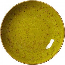 Салатник «Крафт Эппл»; фарфор; 1л; D=255, H=35мм; желто-зел.