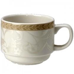 Чашка чайная «Антуанетт»; фарфор; 170мл; D=70, H=65, L=100мм; белый, олив.