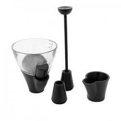 Джиггер с насадками; пластик; 100мл; D=75, H=223мм; черный