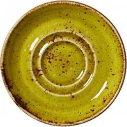 Блюдце «Крафт Эппл»; фарфор; D=110, H=13мм; желто-зел.